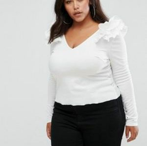 From Asos curve Ruffle Shoulder White Top 3x